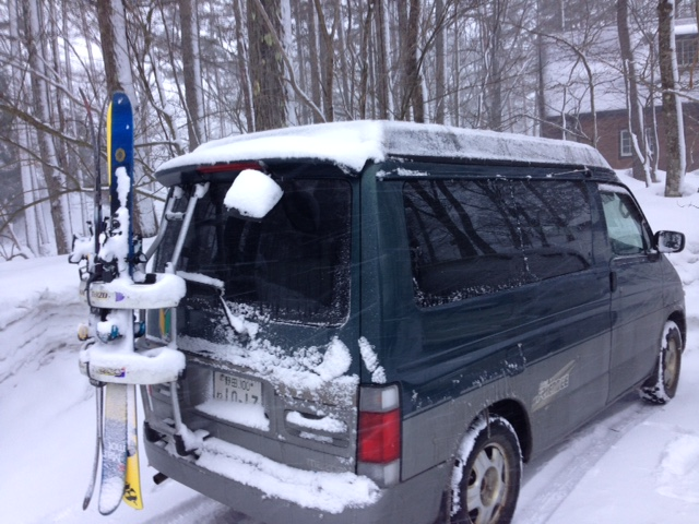 Camper Van in Japan with ski and snowboard rack