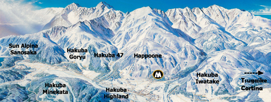 Aerial illustration of Hakuba Valley ski and snowboard resorts in Japan