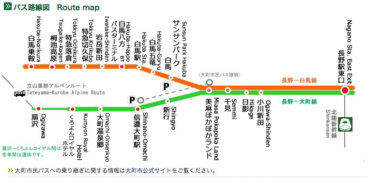 Happo to Nagano Bus Route
