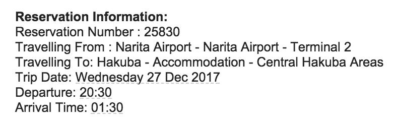 Snow Shuttle reservation