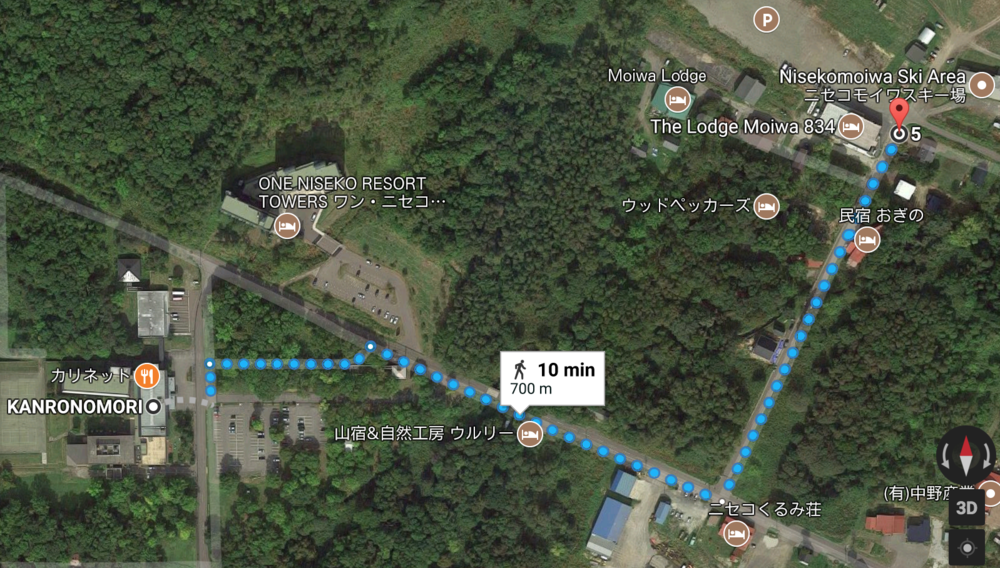 Direction from Kanronomori to lodge moiwa