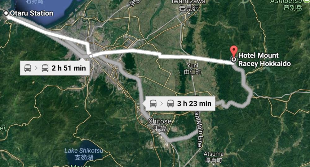 Train from Otaru to Sapporo and bus from Sapporo to Yubari