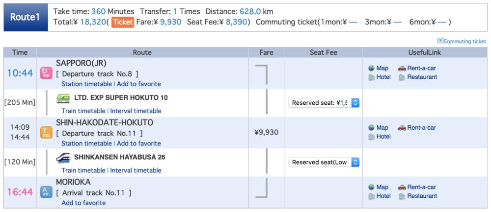 Sapporo to Morioka