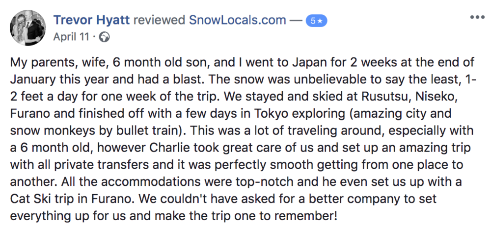 Review from Snowlocals customer