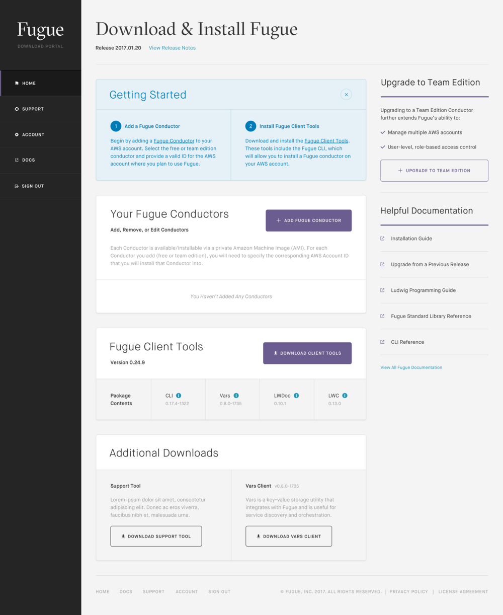 """Fugue's Download Portal allowed users to signup, configure and download Fugue's """"Client Tools"""""""