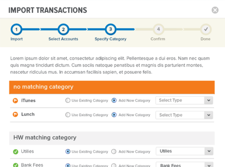 HelloWallet's UX for Importing Transactions into an Existing Account