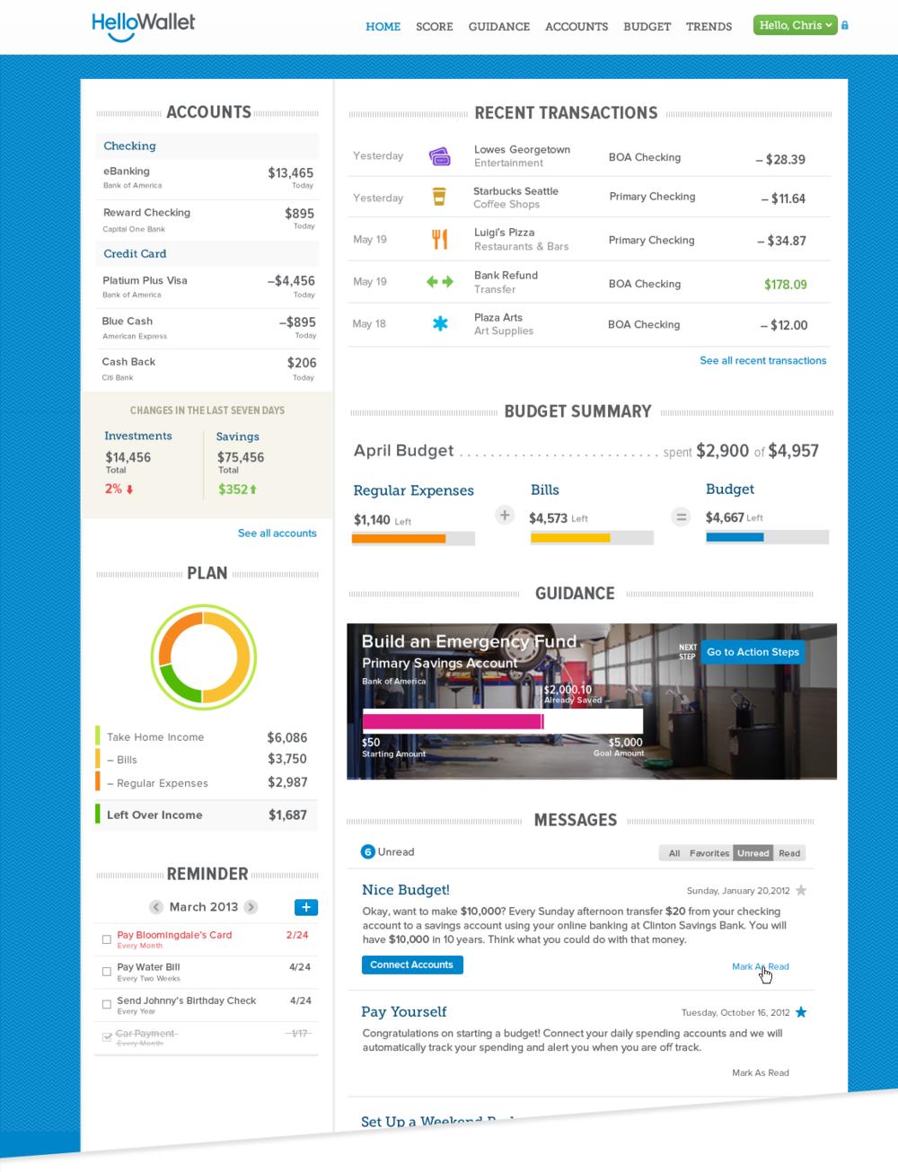 Mockup of HelloWallet's Dashboard circa 2012