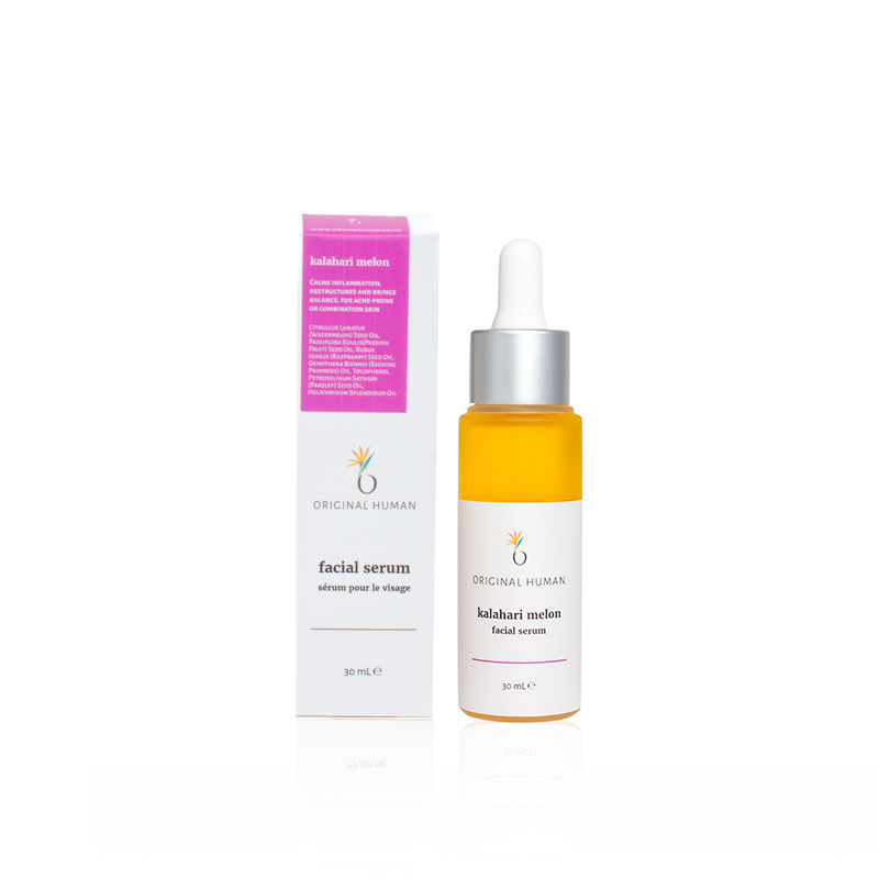 Calms inflammation, restructures and brings balance, for acne-prone or combination skin. - Grounded in a base of Kalahari Melon oil, this serum works to balance the skin and sebum production with essential fatty acids and lipids to restore and maintain the skin's barrier function. High concentrations of Vitamin C and other antioxidants like carotenoids work to protect and calm the skin and promote healing.