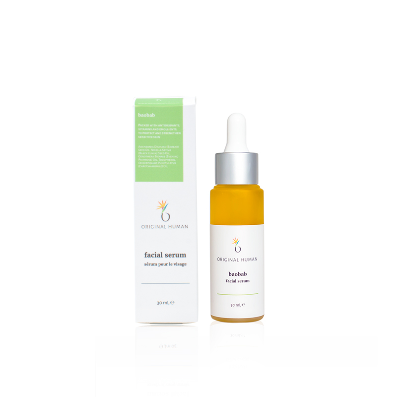 Packed with antioxidants, vitamins, and emollients, to protect and strengthen sensitive skin. - This Baobab oil-based serum is perfect for those with sensitive skin looking to relieve irritation and restore balance. High concentrations of essential fatty acids soothe and protect while naturally occurring vitamins and antioxidants strengthen cell structure and elasticity.