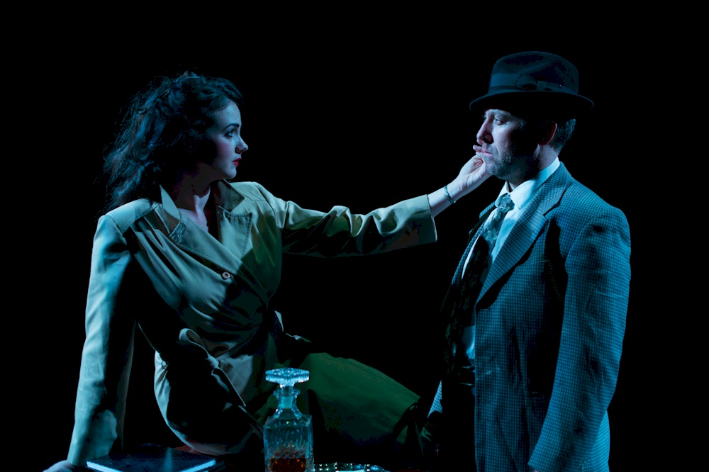 Emma Slip as Annie Riordon and Graham Percy as Detective Philip Marlowe /  Photo Credit: Benjamin Laird Arts & Photo
