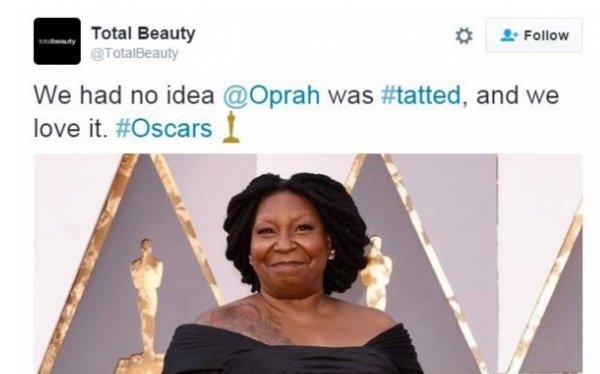 Oprah isn't Whoopi Goldberg.