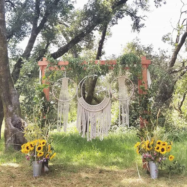 Breathtaking Sebastopol magic!! Chupah homemade by the wedding party and the macrame made by the bride!! I'm GEEKING! . . . . . . . . #westsonomacounty #bohemianlife #sebastopol #oakforest #cawedding #offbeatbride @offbeatbride #love #wedding #greenshoes #sonomacounty #destinationwedding #norcalwedding