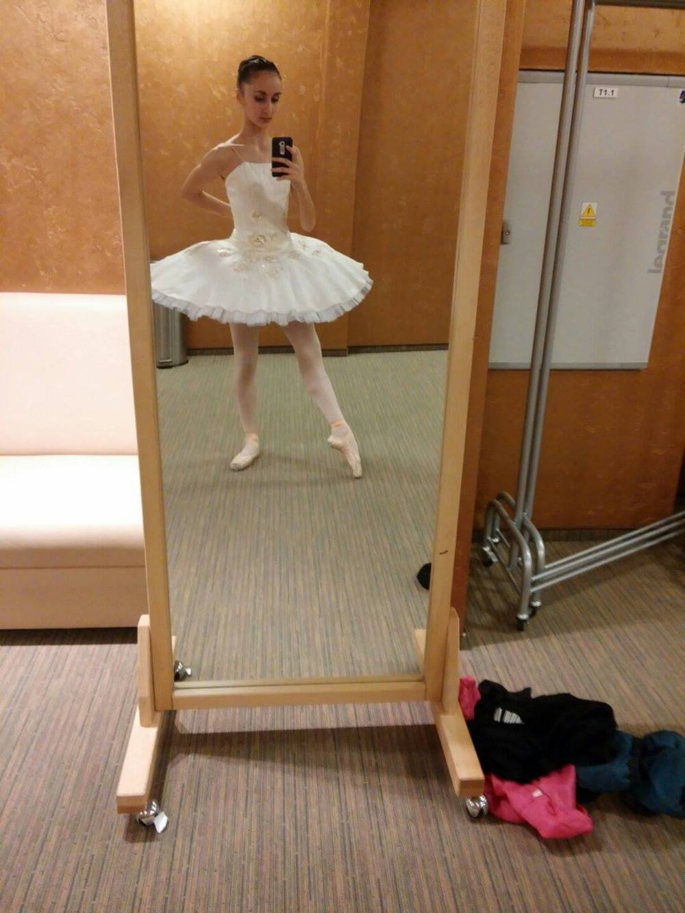 Corinne in a borrowed tutu for the Don Quixote variation she and Julianna performed tonight.