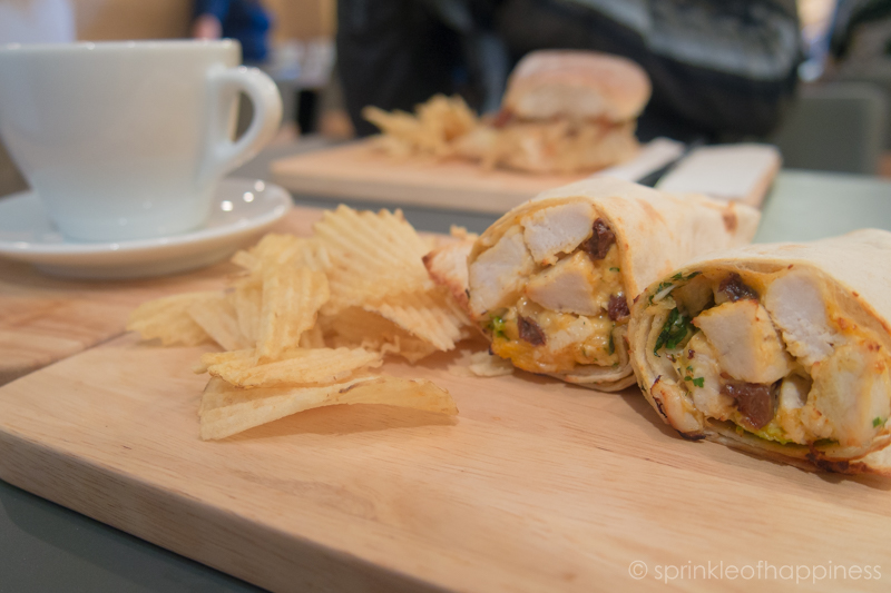chicken wrap and crisps