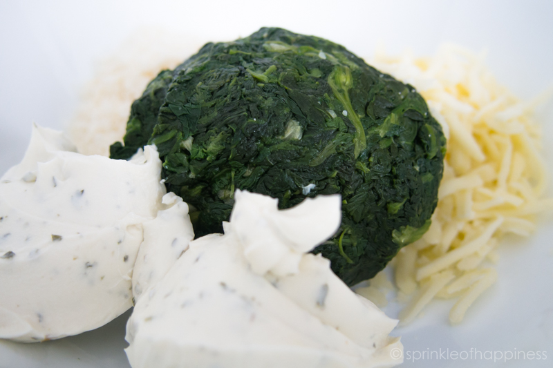 Ingredients: herbs and garlic greek yogurt or cream cheese, spinach, shredded mozzarella cheese and grated Parmesan cheese.