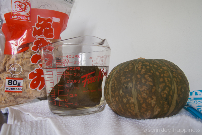 Ingredients: kabocha bonito flakes seaweed (kombu) dashi