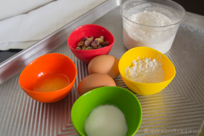 joconde ingredients: eggs, almond flour, pistachios, powdered sugar, flour, sugar, butter