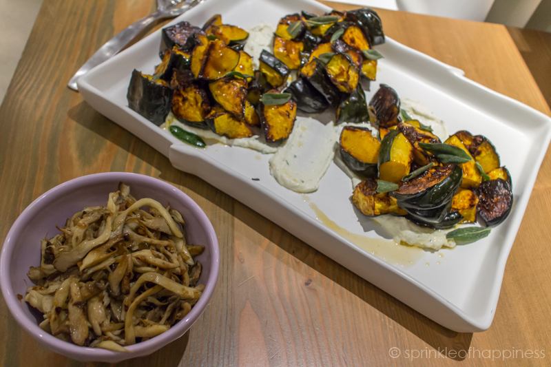 Side Dish - Roasted Acorn Squash with Brown Butter, Ricotta and Sage  Sauteed Mushrooms