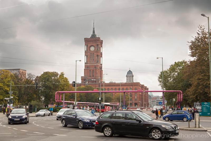 Pink pipes of Berlin near Alexanderplatz