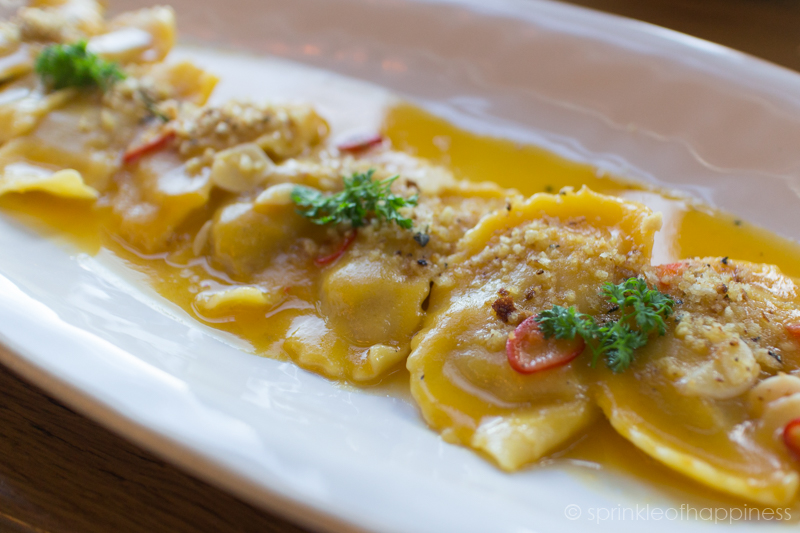 Jamie's Italian - Special of the Day -Ravioli stuffed with pumpkin and ricotta in a warm pumpkin brown butter sauce