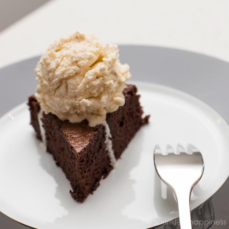 Chocolate flourless cake with vanilla ice cream
