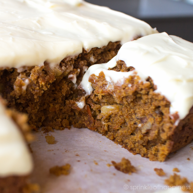 Carrot cake out of the oven sliced.