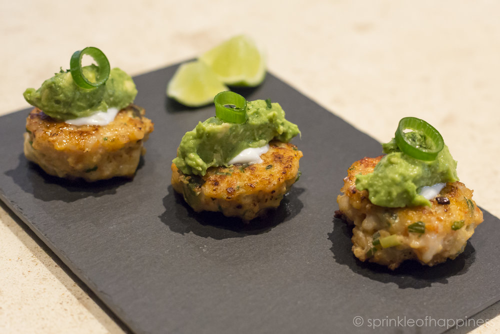 Shrimp Cake Patties With Guacamole and Lime