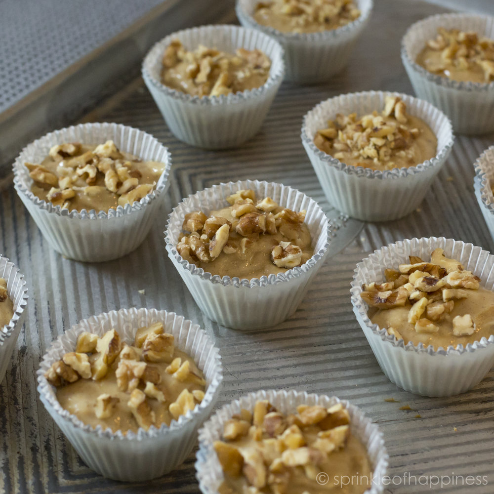banana bread muffin mixture with walnuts
