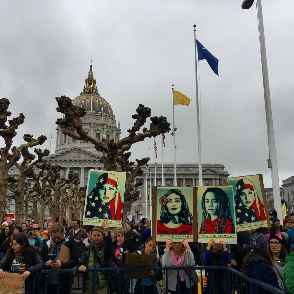 A photo I took of Shepard Fairey's  We the People  at the San Francisco Women's March 2017