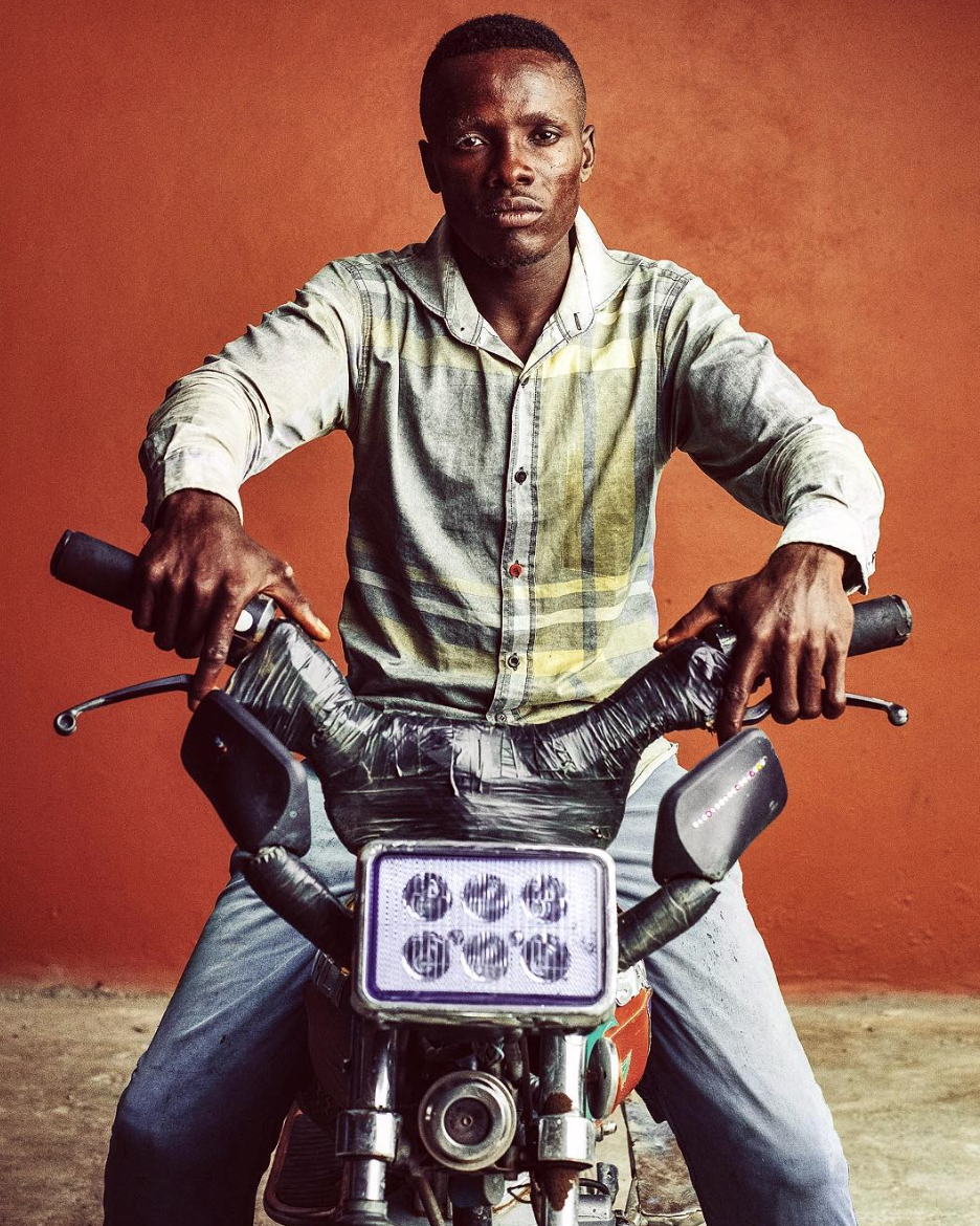 A moto taxi in Douala, Cameroon.
