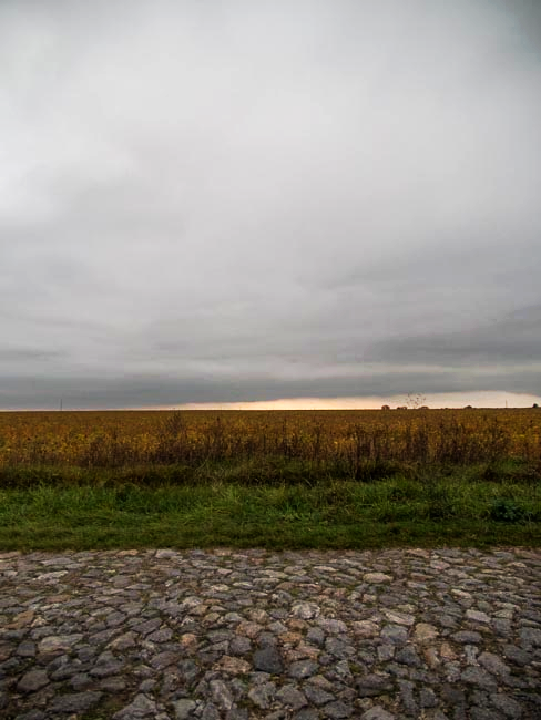 Granite road and soybean field, Western Ukraine, September 2011
