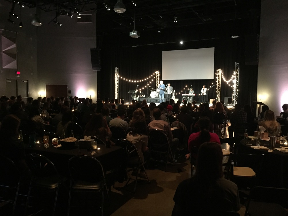 This is during our monthly Worship Collective. These nights are a way for our entire worship, production and Story Team ministry from all 5 campuses to gather together to eat, fellowship and worship together. Some of my favorite nights of the month!