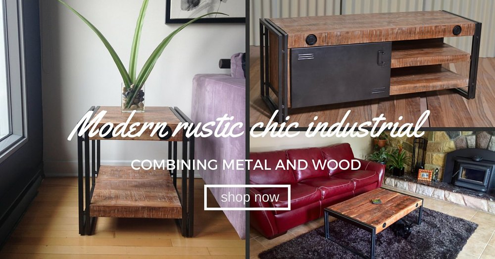 Rustic chic industrial acacia metal furniture