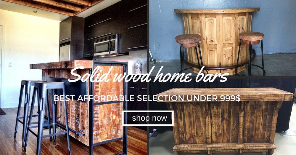 Solid wood rustic home bar