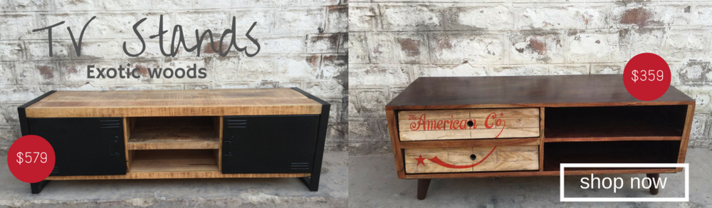 Rustic solid wood tv stands