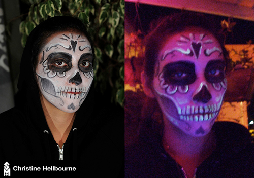 Christine Hellbourne Dia de los Muertos Skull Make-Up