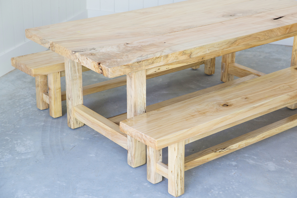 Maple Farm Table + Dining Bench Set