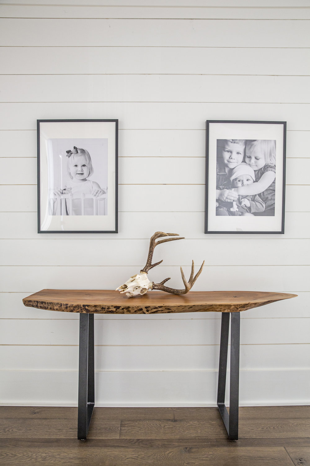 Live Edge Wood Console Table / Aged Metal Legs / WoodKith