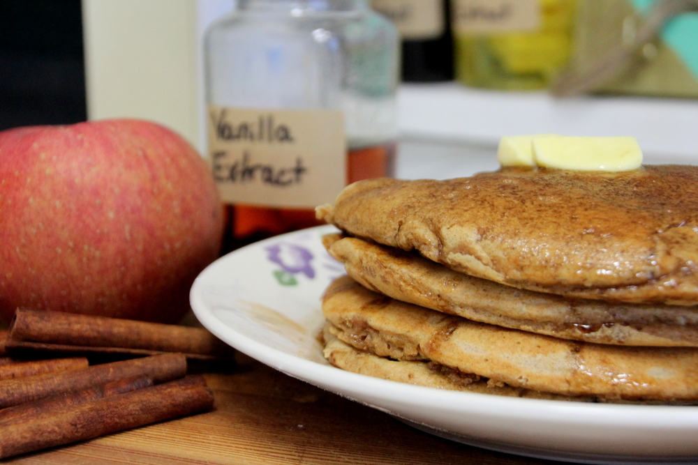 Apple cinnamon pancakes with vanilla cinnamon syrup