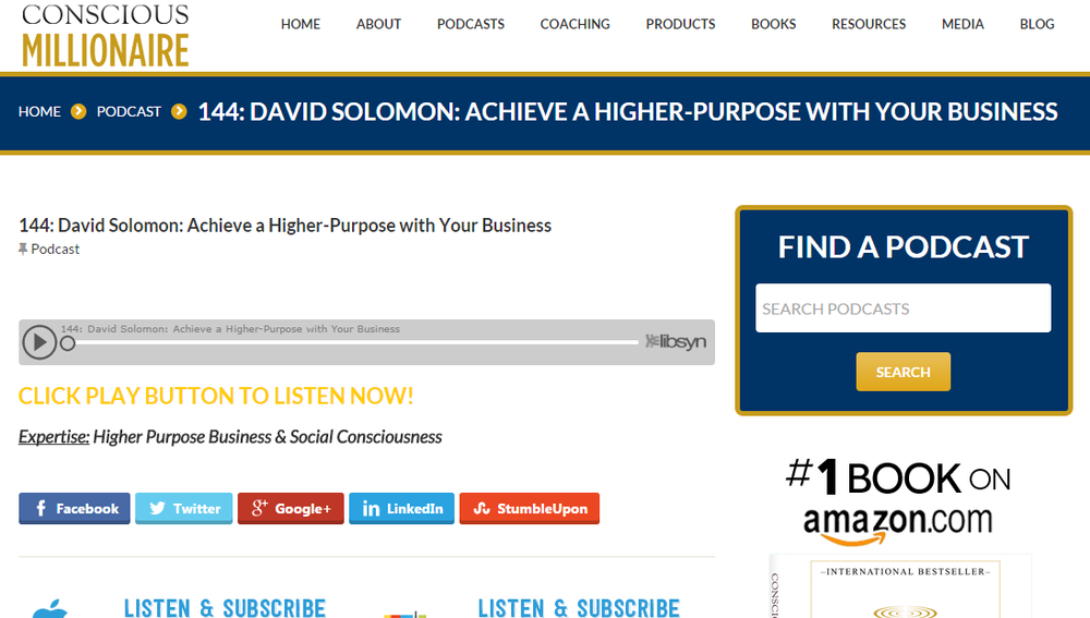 The Conscious Millionaire interviews David Solomon (click image to listen)