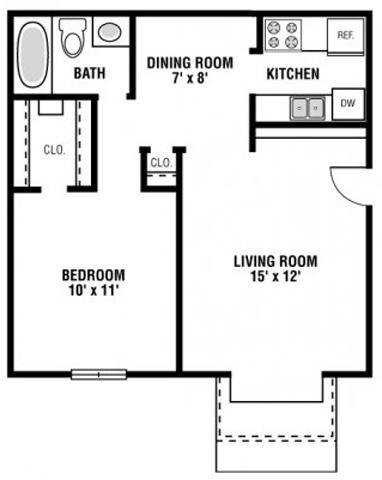 568 sf 1 bedroom 1 bath