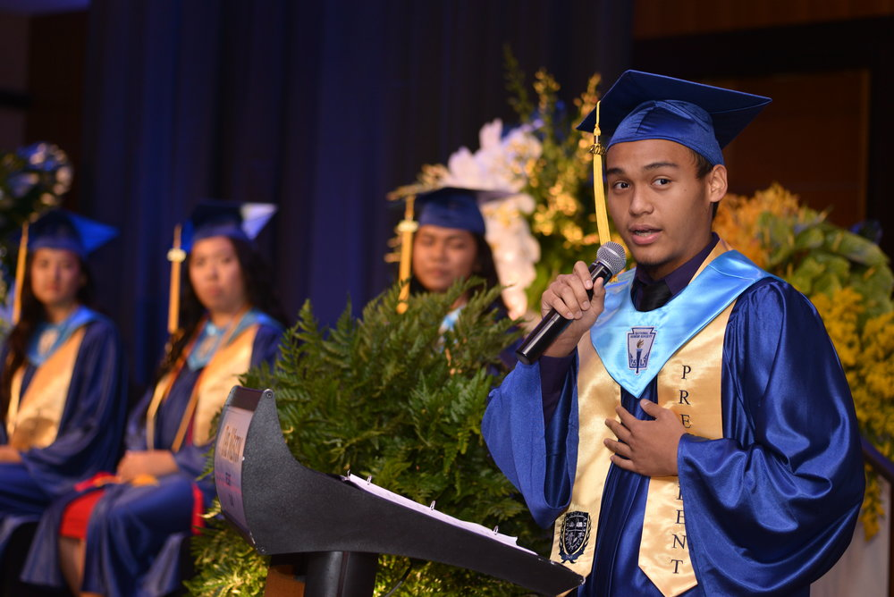 Elijah Mafnas gave the class president's address after Principal Chrislyn Larrew welcomed the parents, family members, and guests of the graduating class of 2018.