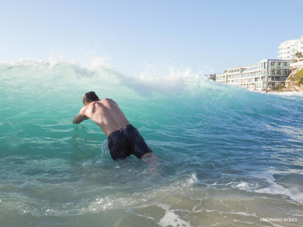 My mate Bertie diving in the shorey - I got smashed myself thanks for wondering!