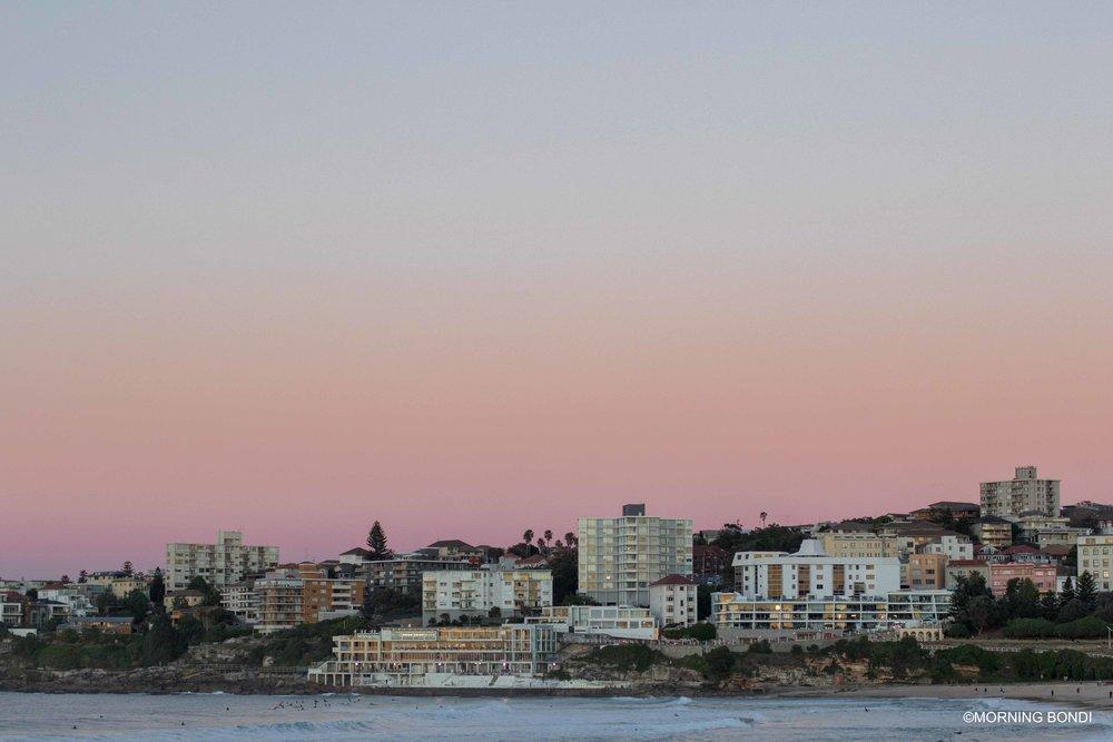 Pre-sunrise pink lights