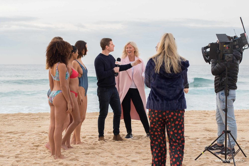 Kerry Cusack from Bondi Bather getting interviewed by Sam Mac from Sunrise, Channel 7