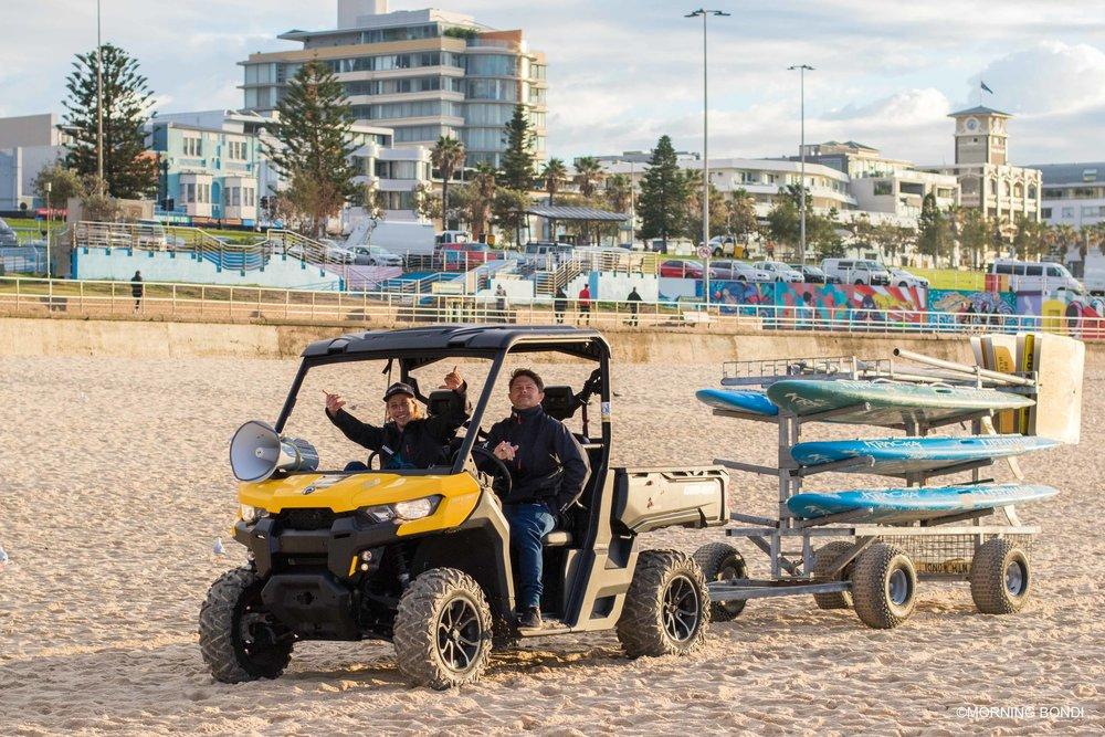 Jethro James & Michael Jenks setting-up the beach