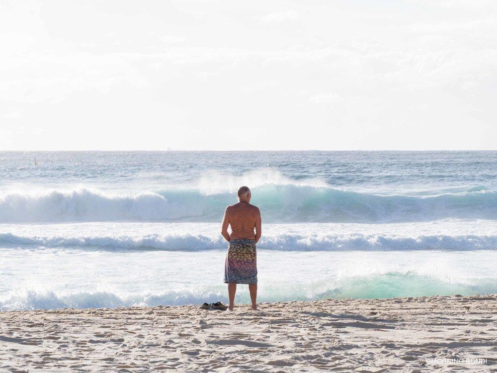 John Macarthur after his daily swim