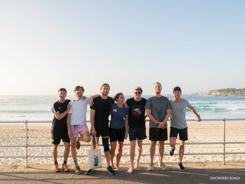 The Morning Bondi gang (from left to right: Bertie, David, Magnus, Julie, Julius, JP and me) Thanks to Daniel Boddam for the photo!