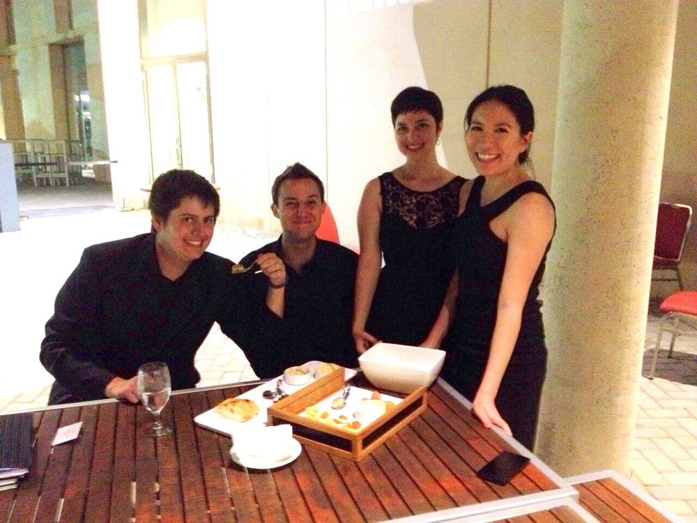 The String Quartet enjoyed some delicious canapes afterwards! L-R: David, Stuart, Cristina and Jennifer.