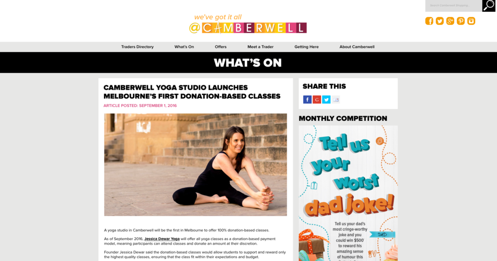 Jessica Dewar Yoga Press Release